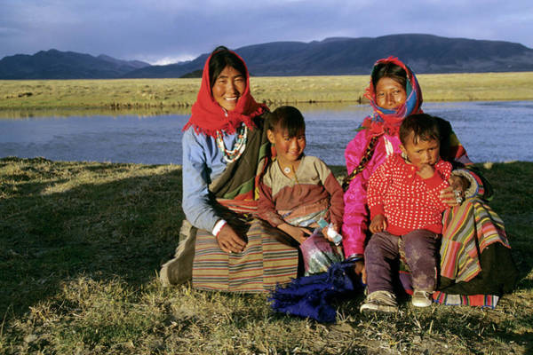 Chinese Girl Wall Art - Photograph - Portrait Of Nomadic Family, Western by Joan Pollock