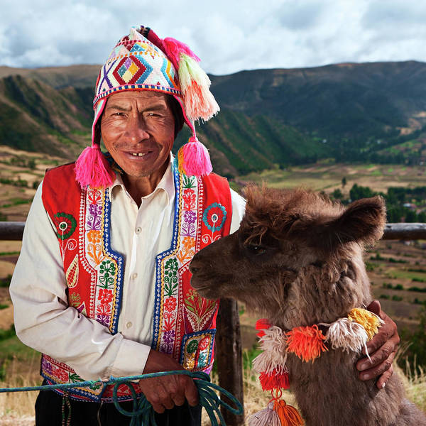 Aymara Wall Art - Photograph - Portrait Of Peruvian Man Near Pisac by Hadynyah