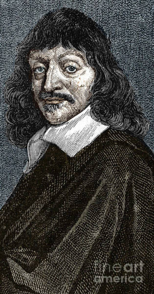Wall Art - Drawing - Portrait Of Rene Descartes 1596-1650 by French School
