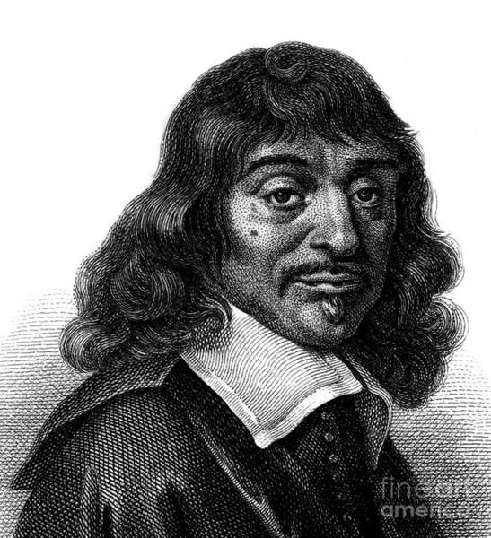 Wall Art - Drawing - Portrait Of Rene Descartes, Engraving From The 19th Century by French School