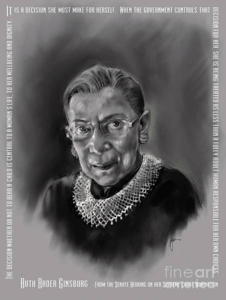 Portrait Of Ruth Bader Ginsburg Art Print