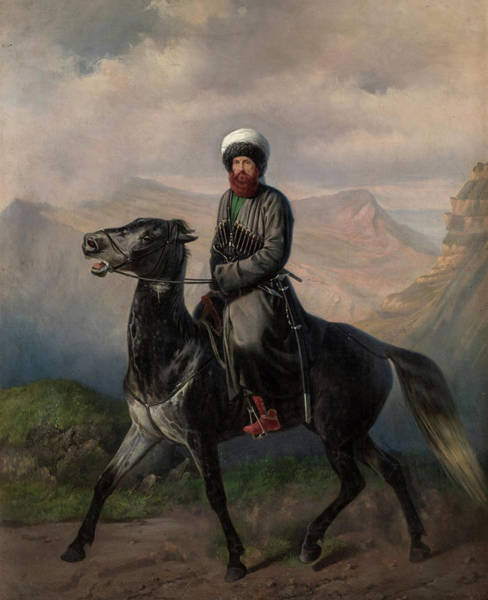 Wall Art - Painting - Portrait Of Shamil, 1859 by Nikolai Sverchkov