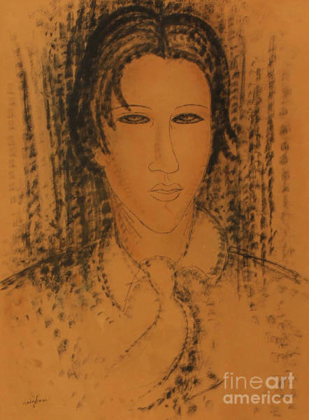 Wall Art - Drawing - Portrait Of Soutine by Amedeo Modigliani