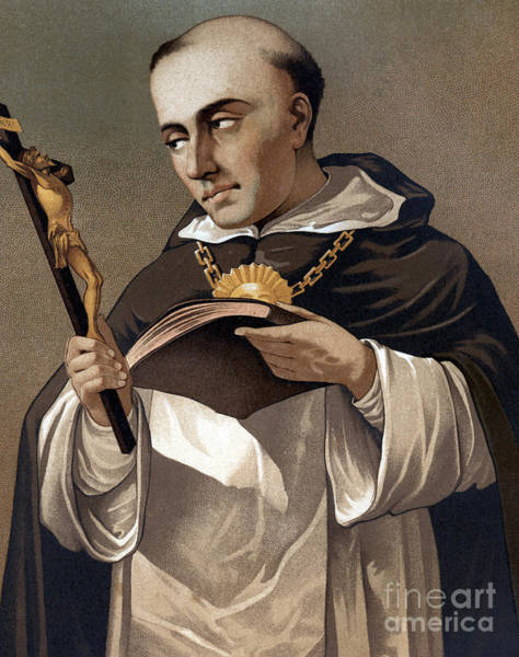 Wall Art - Painting - Portrait Of St Thomas Aquinas 1225-1274, Italian Theologian by Italian School