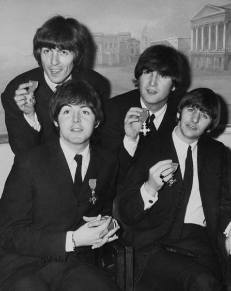 George Harrison Photograph - Portrait Of The Beatles With Their Mbe by Keystone-france