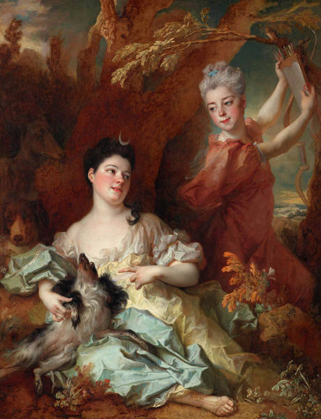 Wall Art - Painting - Portrait Of The Comtesse De Montsoreau And Her Sister As Diana And An Attendant by Nicolas de Largilliere