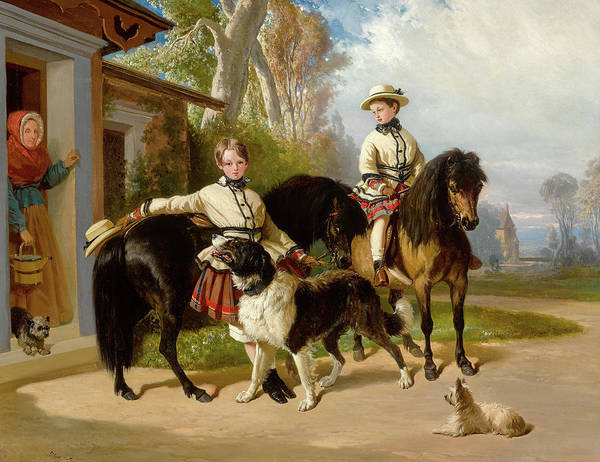 Wall Art - Painting - Portrait Of The Duke Of Chartres And The Count Of Paris In Scots, 1850 by Alfred de Dreux