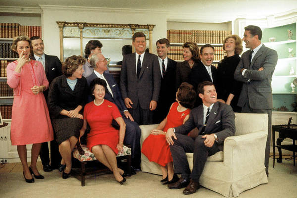 Election Photograph - Portrait Of The Kennedy Family At Home by Paul Schutzer
