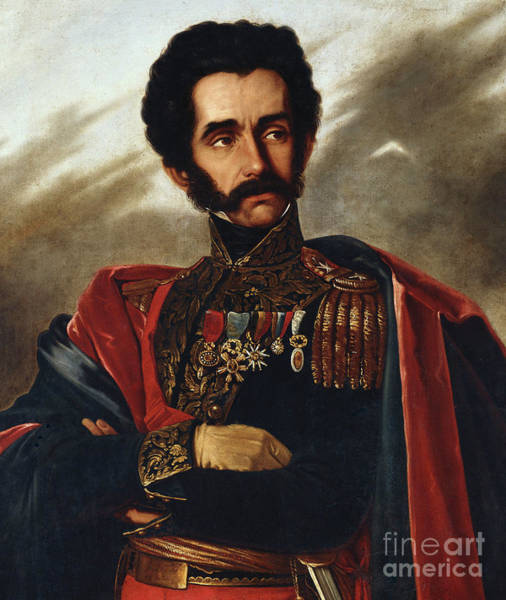 Wall Art - Painting - Portrait Of The Liberator, Simon Bolivar, Half Length, In Full Dress Uniform by South African School
