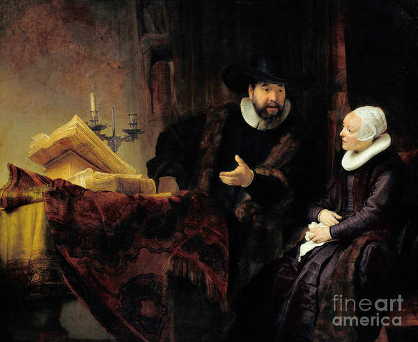 Wall Art - Painting - Portrait Of The Mennonite Preacher, Cornelius Claesz Anslo And His Wife, Aaltje Gerritsdr Shouten, 1 by Rembrandt Harmensz van Rijn