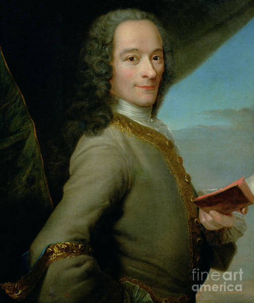 Wall Art - Painting - Portrait Of The Young Voltaire  by French School