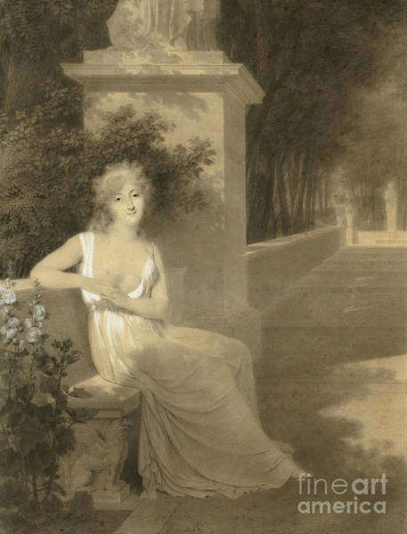 Wall Art - Drawing - Portrait Of Theresa Tallien As A Muse Of Poetry by Jean-Baptiste Isabey