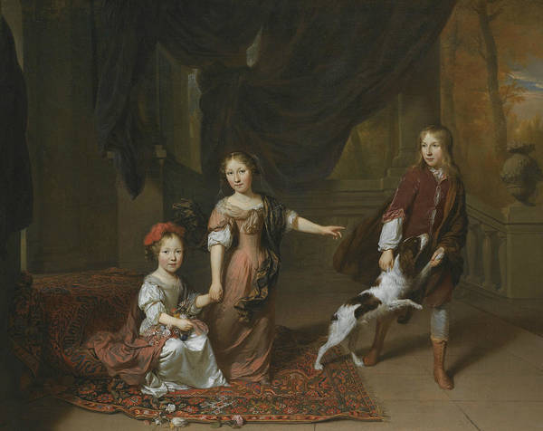 Painting - Portrait Of Two Sisters And Their Brother Playing With A Dog by Jan Verkolje