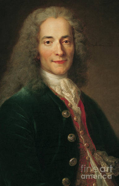 Wall Art - Painting - Portrait Of Voltaire After 1718 by Nicholas de Largilliere