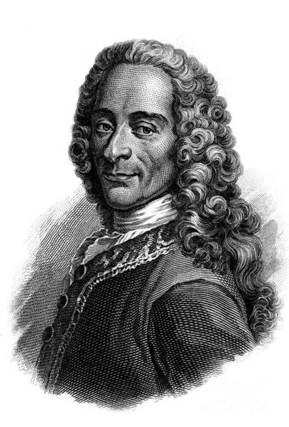 Wall Art - Drawing - Portrait Of Voltaire, Engraving  by French School