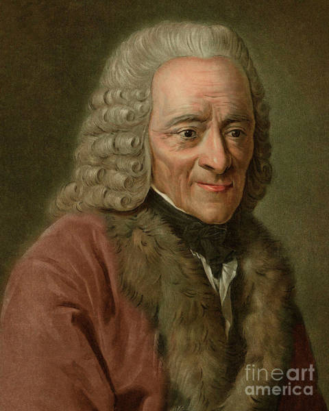 Wall Art - Painting - Portrait Of Voltaire, Francois Marie Arouet  by Pierre Michel Alix