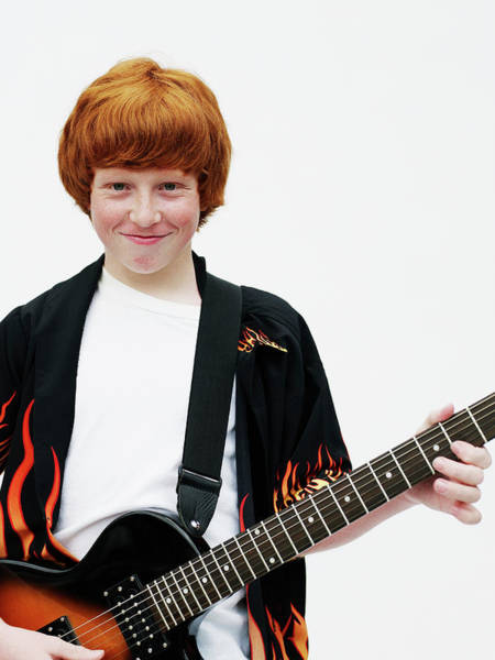 Adolescence Photograph - Portrait Of Young Male With Guitar by Thomas Barwick