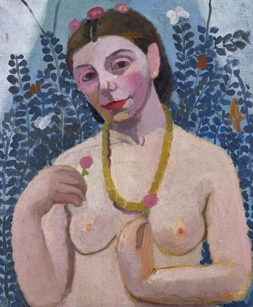 Wall Art - Painting - Portrait Semi-nude With Amber Necklace by Paula Modersohn-Becker