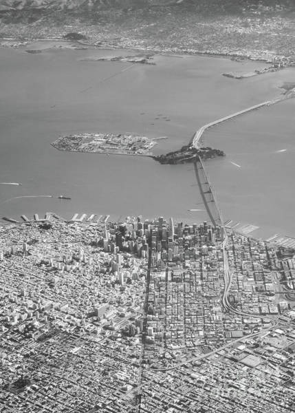 Photograph - Portrait View Of Downtown San Francisco From Commertial Airplane by PorqueNo Studios