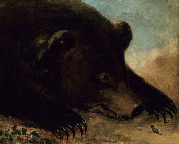 Wall Art - Painting - Portraits Of A Grizzly Bear And Mouse, Life Size by George Catlin