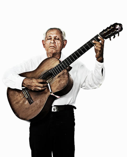 Gray Hair Photograph - Portraits Of An Old Man Playing Guitar by Peter Boel Nielsen