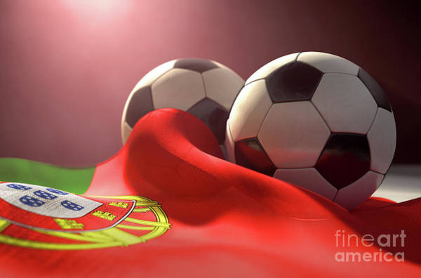 Wall Art - Digital Art - Portugal Flag And Soccer Ball by Allan Swart