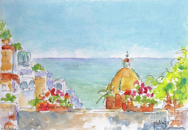 Painting - Positano Italy Looking Out To Sea by Pat Katz