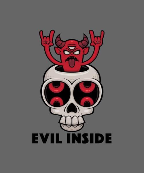 Satan Digital Art - Possessed Skull Evil Inside by John Schwegel
