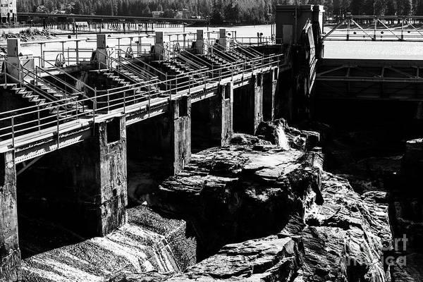 Photograph - Post Falls Dam Black And White by Matthew Nelson