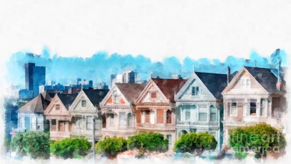 Wall Art - Digital Art - Postcard Row Painted Ladies San Francisco by Edward Fielding