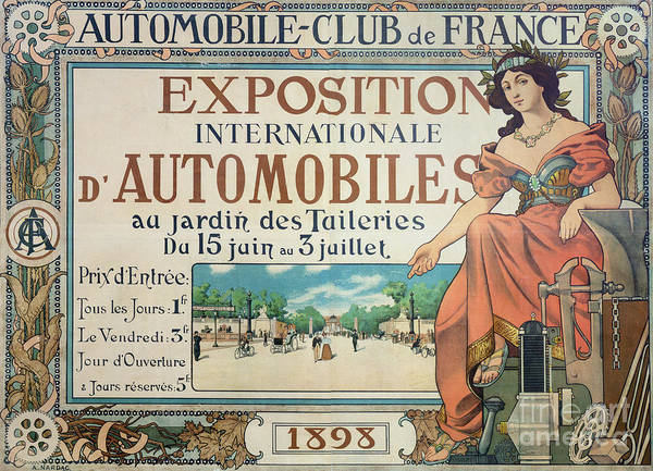 Wall Art - Drawing - Poster Advertising The Exposition Internationale Automobiles At The Tuileries Gardens 1898 by A Nardac
