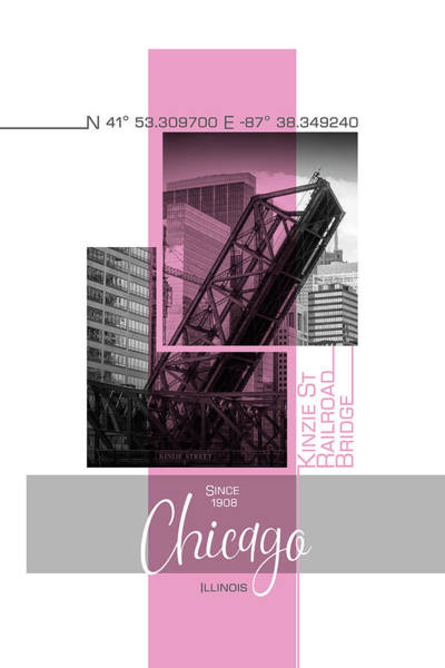 Wall Art - Photograph - Poster Art Chicago Railroad Bridge - Pink by Melanie Viola