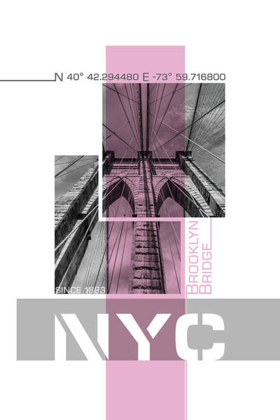Wall Art - Photograph - Poster Art Nyc Brooklyn Bridge Details - Pink by Melanie Viola