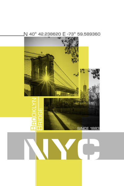 Wall Art - Photograph - Poster Art Nyc Brooklyn Bridge Shadows by Melanie Viola