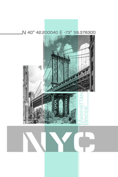 Wall Art - Photograph - Poster Art Nyc Manhattan Bridge by Melanie Viola