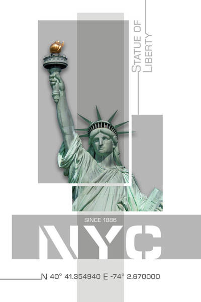 Wall Art - Photograph - Poster Art Nyc Statue Of Liberty - Pink by Melanie Viola
