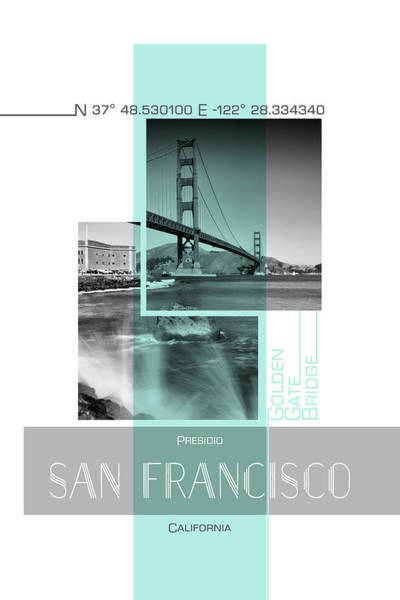 Wall Art - Photograph - Poster Art San Francisco Presidio - Turquoise by Melanie Viola