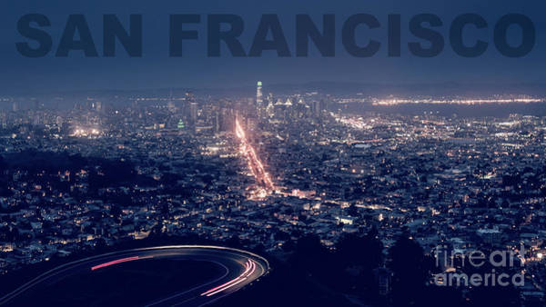 Photograph - Poster Of Downtown San Francisco With Harbor On The Right by PorqueNo Studios