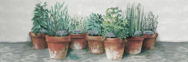Wall Art - Painting - Pots Of Herbs II Cottage V2 by Carol Rowan