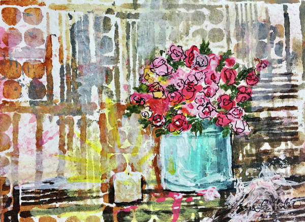 Mixed Media - Potted Roses With Candle by Janis Lee Colon