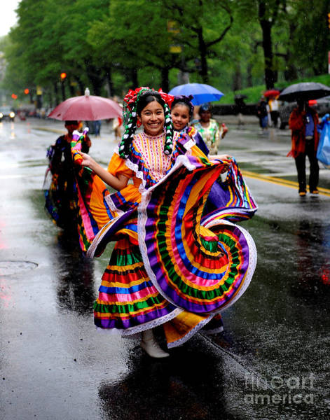 Rain Photograph - Pouring Rain Didnt Dampen The Spirits by New York Daily News Archive
