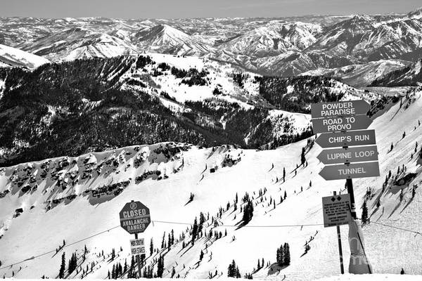Photograph - Powder Paradise Avalanche Danger Black And White by Adam Jewell