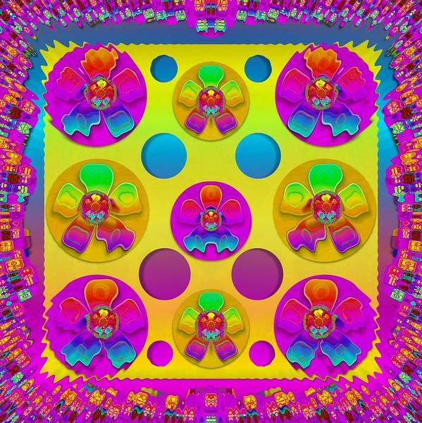 Wall Art - Mixed Media - Power Flowers In Festive Flower Power Festival Pop Art by Pepita Selles