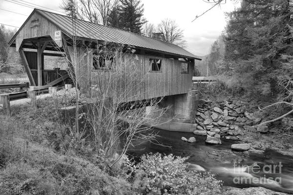 Photograph - Power House Covered Bridge Black And White by Adam Jewell
