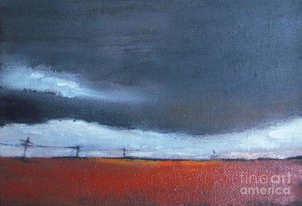 Utility Poles Painting - Power Line At Stormy Sky by Vesna Antic
