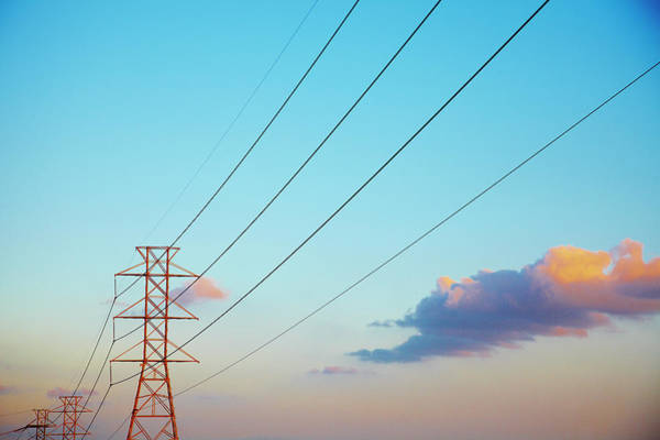 Electricity Generation Photograph - Power Lines And Blue Sky With Clouds by Thomas Northcut
