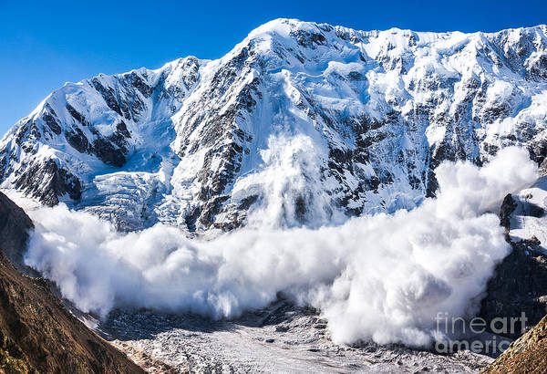 Wall Art - Photograph - Power Of Nature. Real Huge Avalanche by Lysogor Roman