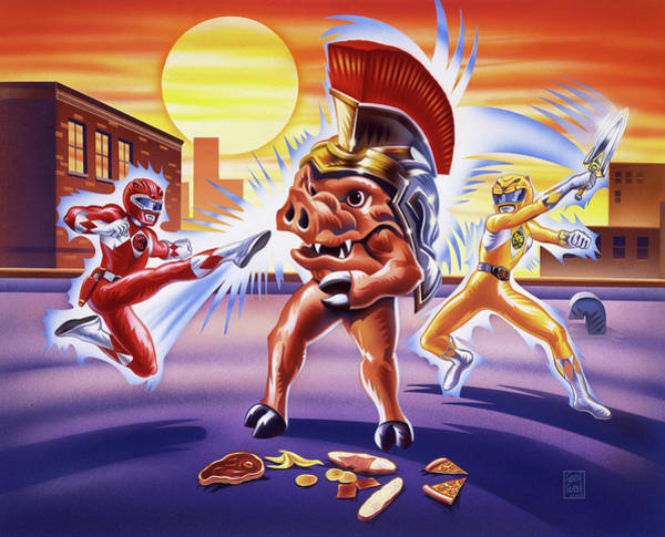 Wall Art - Painting - Power Rangers Action Art by Garth Glazier