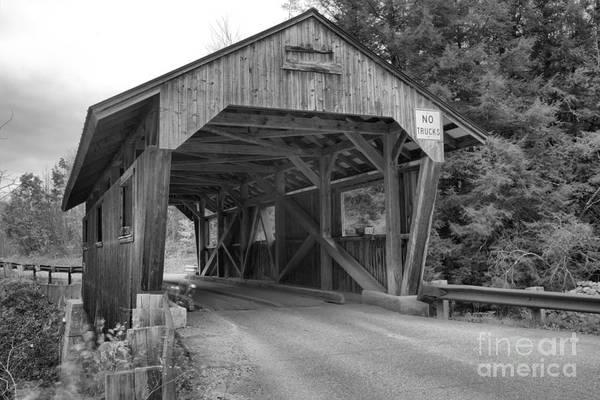 Photograph - Powerhouse Covered Bridge Black And White by Adam Jewell
