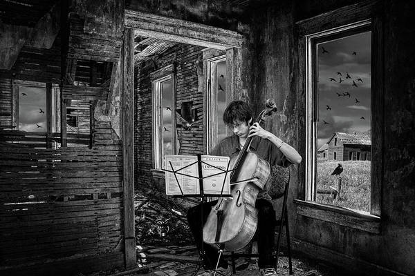 Wall Art - Photograph - Practicing Among The Ruins In Black And White. A Cello Player Pl by Randall Nyhof